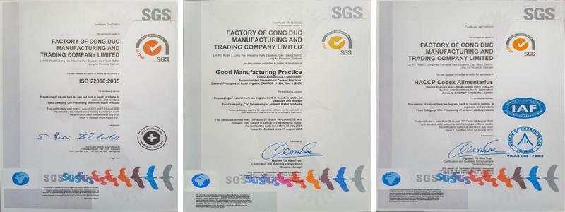 Chứng nhận HACCP, GMP, ISO22000 của nhà máy sản xuất