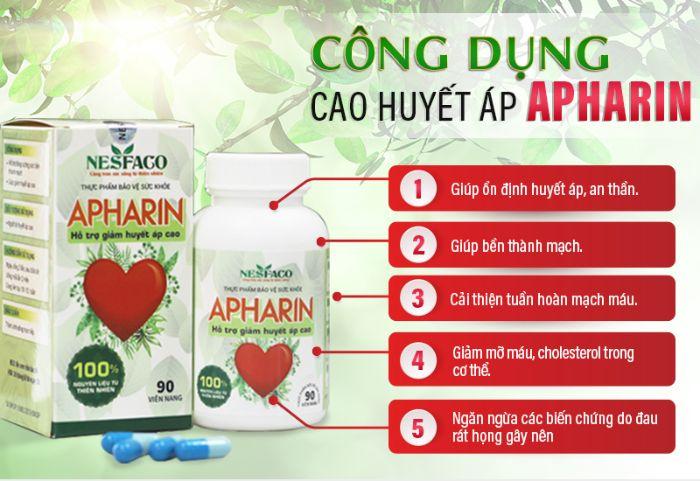 Sản phẩm ổn định huyết áp APHARIN có chứa 50mg hạ khô thảo