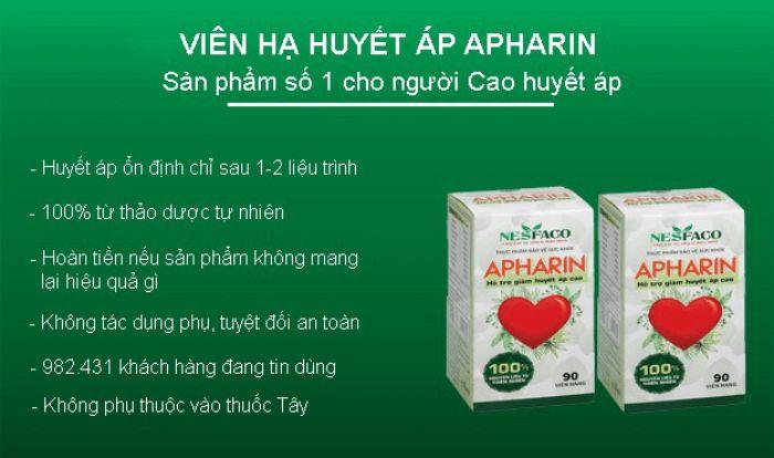 Sản phẩm hỗ trợ ổn định huyết áp APHARIN chứa 50mg thảo dược sơn thù